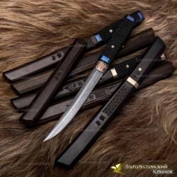 Нож Айкути. Рукоять - кожа ската, макасар. Сталь - ZDI-1016