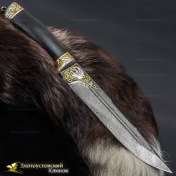 Нож Арсенальный люкс. Рукоять - граб. Сталь Damasteel c золочением