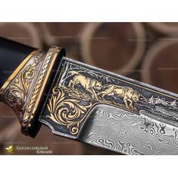 Нож Арсенальный люкс. Рукоять - граб. Сталь ZDI-1016 c золочением