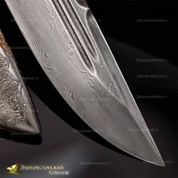 Нож Арсенальный люкс. Рукоять - граб. Сталь ZDI-1016 c золочением. Гравировка - олени