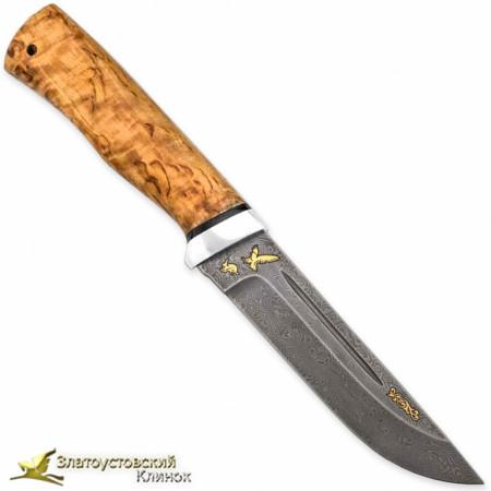Нож Бекас. Рукоять - карельская берёза. Сталь ZDI-1016 с золочением