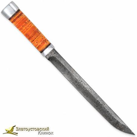 Нож Бурятский большой. Рукоять - береста, алюминий. Сталь - ZD-0803