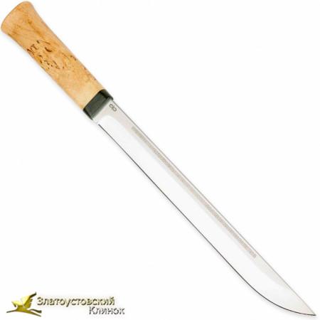Нож Бурятский большой. Рукоять - карельская берёза