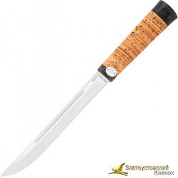 Нож  Бурятский средний. Рукоять береста, текстолит
