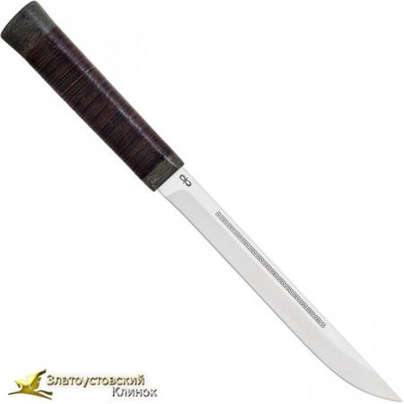 Нож  Бурятский средний. Рукоять кожа, текстолит