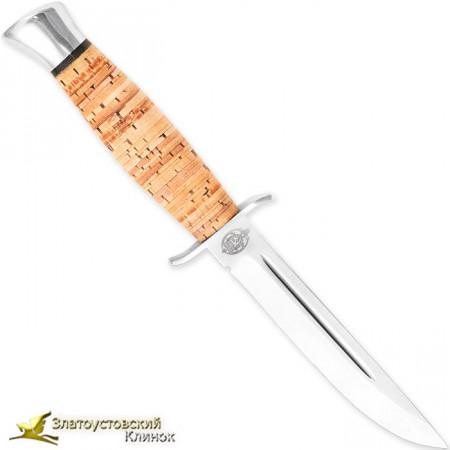 Нож  Финка-2. Рукоять - береста, алюминий. Сталь 95Х18