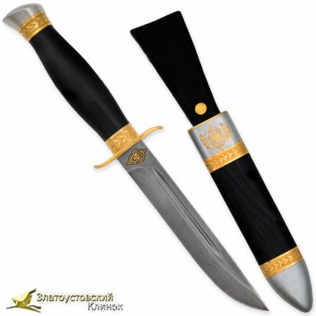 Нож Финка-2 ФСБ. Рукоять - граб. Сталь ZDI-1016 с золочением