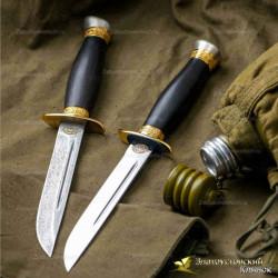 Нож Финка-2 НКВД. Рукоять - граб. Сталь ЭИ-107 с золочением
