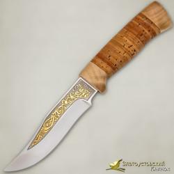 Нож Клычок-1. Рукоять - береста, кап берёзовый. Золочение клинка
