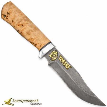 Нож Клычок-1. Рукоять - карельская берёза. Сталь ZDI-1016 с золочением
