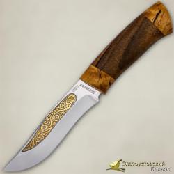 Нож Клычок-3. Рукоять - кап ореха, кап берёзы. Сталь ЭИ-107 с золочением