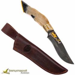 Нож Клычок-3. Рукоять - нога косули. Сталь ZD-0803 с золочением