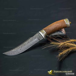 Нож Клык. Рукоять - кап ореха. Сталь ZD-0803 с золочением