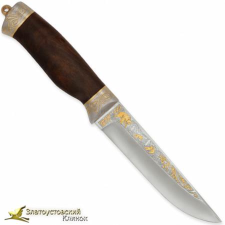 Нож украшенный Лиса. Рукоять - кап ореха. Сталь ЭИ-107 с золочением
