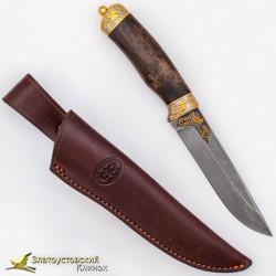 Нож Лиса. Рукоять - кап ореха. Сталь ZDI-1016 с золочением