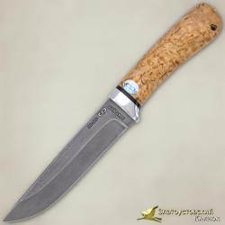 Нож Лиса. Рукоять - карельская берёза. Сталь ZDI-1016 с золочением
