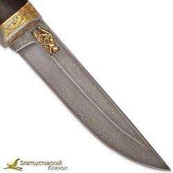 Нож Лиса. Рукоять - макасар. Сталь ZDI-1016 с золочением
