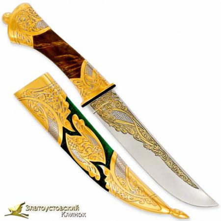 Набор Кинжал с ножом. Рукоять - кап берёзы. Сталь ЭИ-107 с золочением