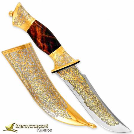 Набор Кинжал с ножом. Рукоять - кап берёзовый. Сталь ЭИ-107 с золочением
