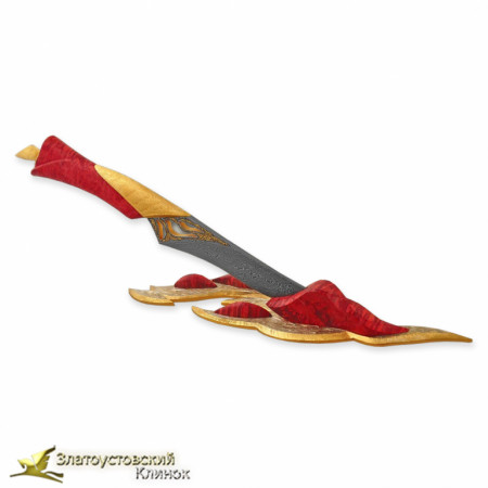 Нож Огонь Рукоять - кап канадского клёна. Сталь ZDI-1016 с золочением