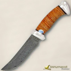 Нож Росомаха. Рукоять - береста, алюминий. Сталь ZD-0803