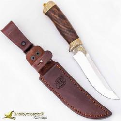 Нож Росомаха. Рукоять - кап ореха, сталь ЭИ-107 с золочением