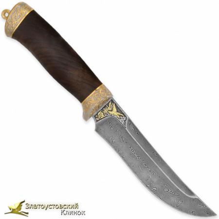 Нож Росомаха. Рукоять - кап ореха. Сталь - ZDI-1016 с золочением клинка