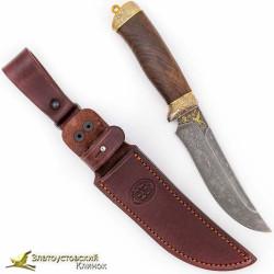 Нож Росомаха. Рукоять - кап ореха. Сталь - ZDI-1016 с золочением