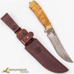 Нож Росомаха. Рукоять - карельская берёза. Сталь - ZDI-1016 с золочением