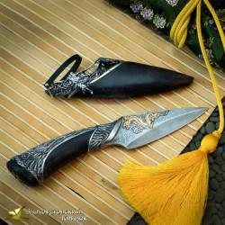 Нож Самурай Рукоять - карельская берёза. Сталь ZDI-1016 с золочением