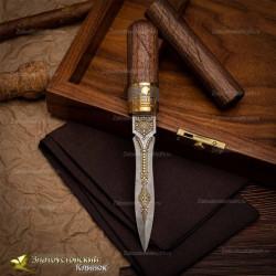 Нож Сигара Cohiba. Рукоять - орех. Сталь ZDI-1016 с золочением