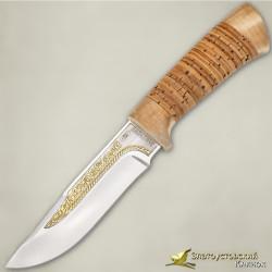Нож Стрелец. Рукоять - береста, кап берёзовый. Сталь 40Х10С2М с золочением