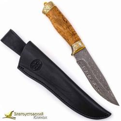 Нож украшенный Стрелец. Рукоять - карельская берёза. Сталь Damasteel