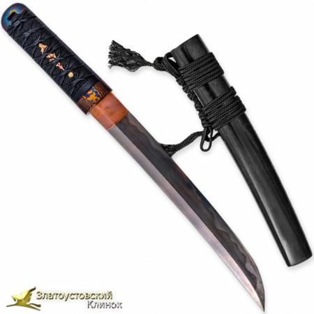 """Нож Танто """"Большая волна"""". Рукоять - бук, кожа ската. Сталь DNH7"""