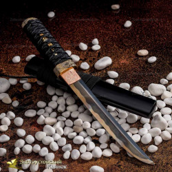 "Нож Танто ""Журавли и бамбук"". Рукоять - бук, кожа ската. Сталь DNH7"
