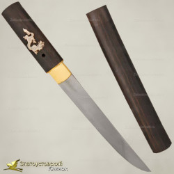 Нож Танто. Рукоять - макасар. Сталь - авторский дамаск