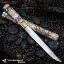 """Нож Танто """"Кленовый сад"""". Рукоять - серебро. Сталь - авторский дамаск"""
