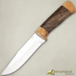 Нож Турист. Рукоять - как ореховый, кап берёзовый. Сталь 40Х10С2М с золочением