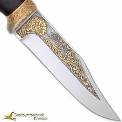 Нож Юнкер. Рукоять - граб. Сталь 95Х18 с золочением