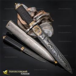 Нож Златоуст-ХХI век. Рукоять - граб. Сталь ZLADINOX с золочением
