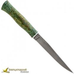 Нож из литого булата К001-V2 Тюринский. Рукоять карельская берёза