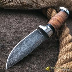Нож из литого булата R001 - береста, алюминий