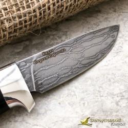 Нож из литого булата R001. Рукоять - орех, алюминий