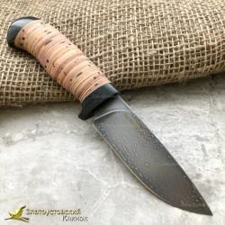 Нож из литого булата R001 - наборная береста