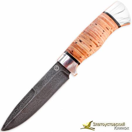 Нож из литого булата R004. Рукоять - береста, алюминий