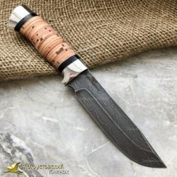 Нож из литого булата R007. Рукоять - береста, алюминий