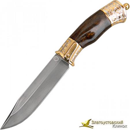 Нож украшенный из литого булата R009U с фонариком