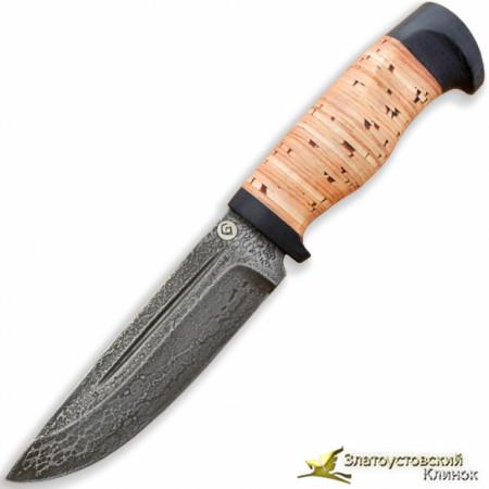 Нож из литого булата R010. Рукоять - береста, текстолит