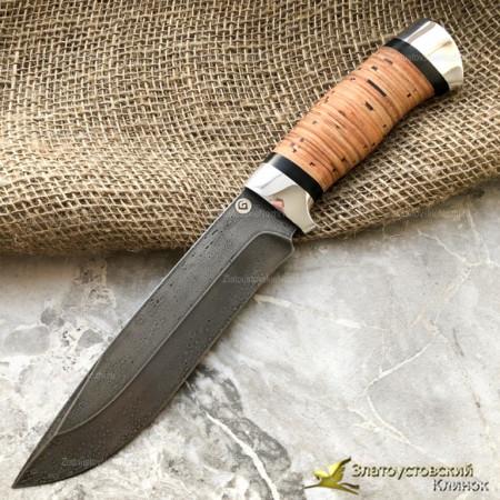 Нож из литого булата R015. Рукоять - береста, алюминий