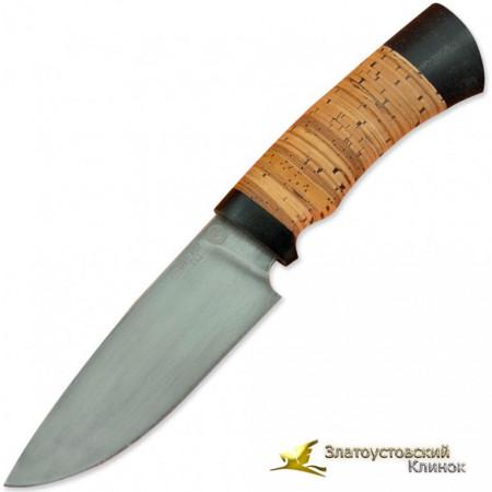 Нож S004. Рукоять береста, текстолит, сталь ЭИ-107 ТЦ